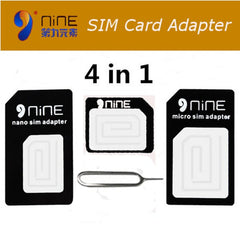 NINE 4 in 1 Acrylic SIM Card Adapters For iPhone 4s/6s Micro+Standard+Nano SIM Card Adapters Pin Key