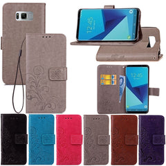 Grass Embossed Magnetic Flip Bracket Card Slot PU Leather+TPU Case For Samsung Galaxy S8 Plus
