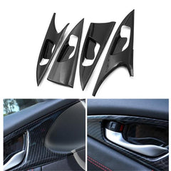 4pcs ABS Carbon Fiber Style Side Door Handle Bowl Cover Trim For Honda Civic 2016 2017