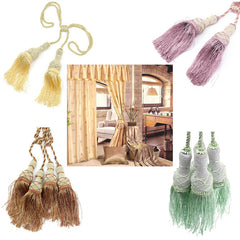 A Pair Garden-style Tassels Curtain Tie Back Double Curtain Tie Ball Buckle Home Decor