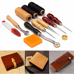13pcs Wood Handle Leather Craft Tool Kit Leather Hand Sewing Tool Punch Cutter DIY Set