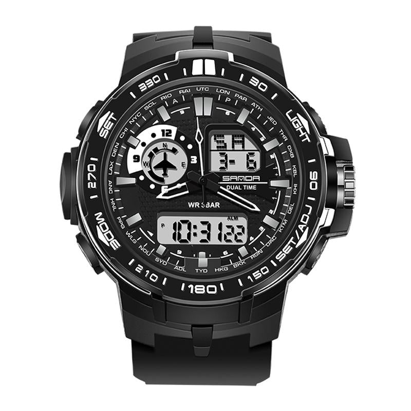 Wil je alles weten over SANDA 737 Fashion Men Dual Display Watch PU Resin Strap Multifunction Sport Watch? Hier lees je alles over Jewelry and Watch Quartz Watches