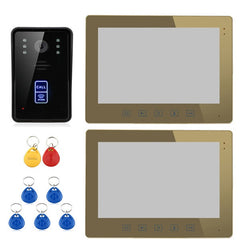 "ENNIO SY1001A-MJID12 10"" RFID Video Door Phone Intercom Doorbell Touch Button Remote 2-Monitor"