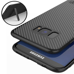 Bakeey™ Kickstand Bracket Ultra-thin Carbon Fiber Soft TPU Case for Samsung Galaxy S8 Plus 6.2 Inch