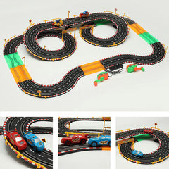HZ Hand-Dynamo Racing Car Track Toy Double Competitive Toys with Lamp