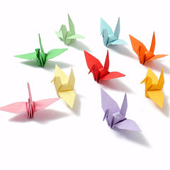 DIY Square Double Sided Origami Folding Lucky Wish Paper Crane Craft Colorful Sheets