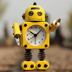 Creative Robot Alarm Clock Mute Clock Message Clips Home Decorative Clock Toy Gift