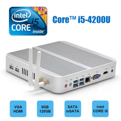Hystou FMP03 Core™ i5-4200U 8G/128G 4K WIFI Gigabit LAN HDMI SATA VGA Fanless Mini PC