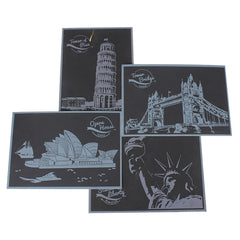 4 Sheets Scratch World Landmarks Poastcard Paper Art Gift Souvenir Decor