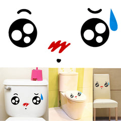 Cartoon Cute Expression Waterproof Toilet Decal Wall Mural Art Funny Bathroom Sticker