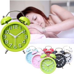 Classic Silent Double Bell Alarm Clock Quartz Bedside Loud with Night Light