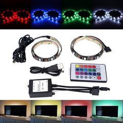 2 X 50CM SMD5050 LED Waterproof USB RGB Strip Mood Changing Light Lamp TV Backlight Kit + Remote