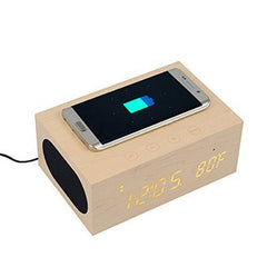 Multi-Function Stereo Bluetooth Wood Speaker Clock Wireless Charger and LED Time Display