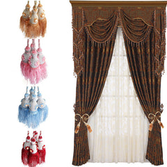 A Pair Applique Tassels Curtain Tie Back Double Ball Curtain Cord Home Decor