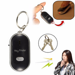 Portable Mini LED Key Finder Locator Find Lost Keys Chain Keychain Whistle Sound Control