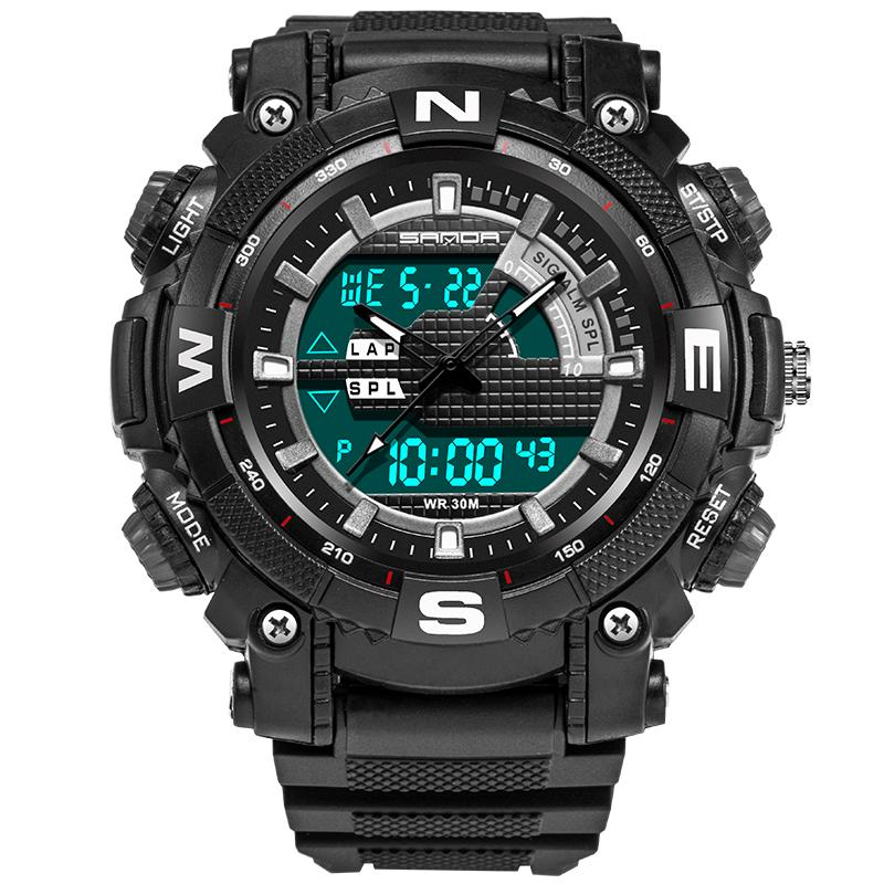Wil je alles weten over SANDA 743 Fashion Men Dual Display Watch Swimming Diving Sport Watch? Hier lees je alles over Jewelry and Watch Quartz Watches