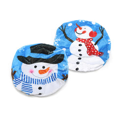 43x48cm Plush Printing Black Hat Snowman Christmas Toilet Cover Home Christmas Decorations