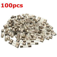 100Pcs 5x20mm 0.2A-20A Quick Blow Glass Tube Fuse Assorted Kit Fast-blow Glass Fuses