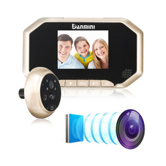 3inch PIR Motion Detection Doorbell Door Peephole Camera 160 Degrees Video Viewer Night Vision Gold