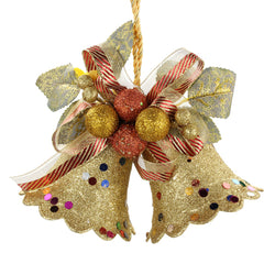 Christmas Gold Double Bell Hang Decoration Supplies