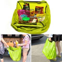 Lime Grab Bag Clip-To-Cart Reusable Grocery Supermarket Shopping Bag Portable Foldable Travel Bag