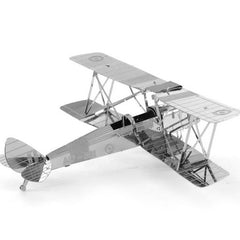 Aipin DIY 3D Puzzle Stainless Steel Model Kit Biplane Silver Color