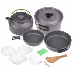 2-3 Person Backpacking Picnic Cookware Cook Cooking Pot Bowl Set Camping Hiking Outdoor Tools