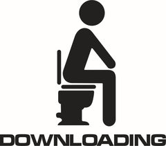KCASA KT-633 Toilet Wall Sticker Bathoom Decor Thinking Downloading 15 x 13cm Funny Toilet Entrance Sign Decal Sticker