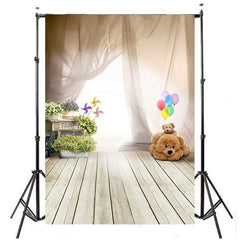 1x1.5m Photography Backdrop Background Props Curtain Pinwheel Flowers Balloons Bear Wooden Floor