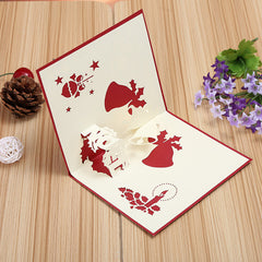 3D Pop Up Greeting Card Table Merry Christmas Postcard Gift Craft Paper DIY