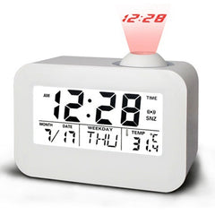 Loskii DX-008 White Talking Projection Clock Bedside LED Backlit Snooze Alarm Clock Voice Control