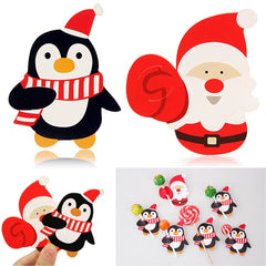 50PCS Santa Claus Penguin Lollipop Christmas Paper Card Candy Xmas Party Decor