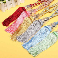 1 Pair Crystal Beaded Tassels Tie Back Curtain Cord 6 Colors