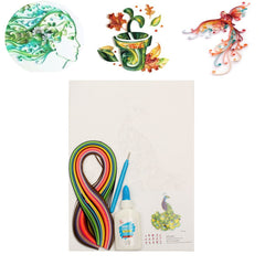 DIY Strips Quilling Paper Craft Board Creations Mixed Colors Slotted Kit Tool