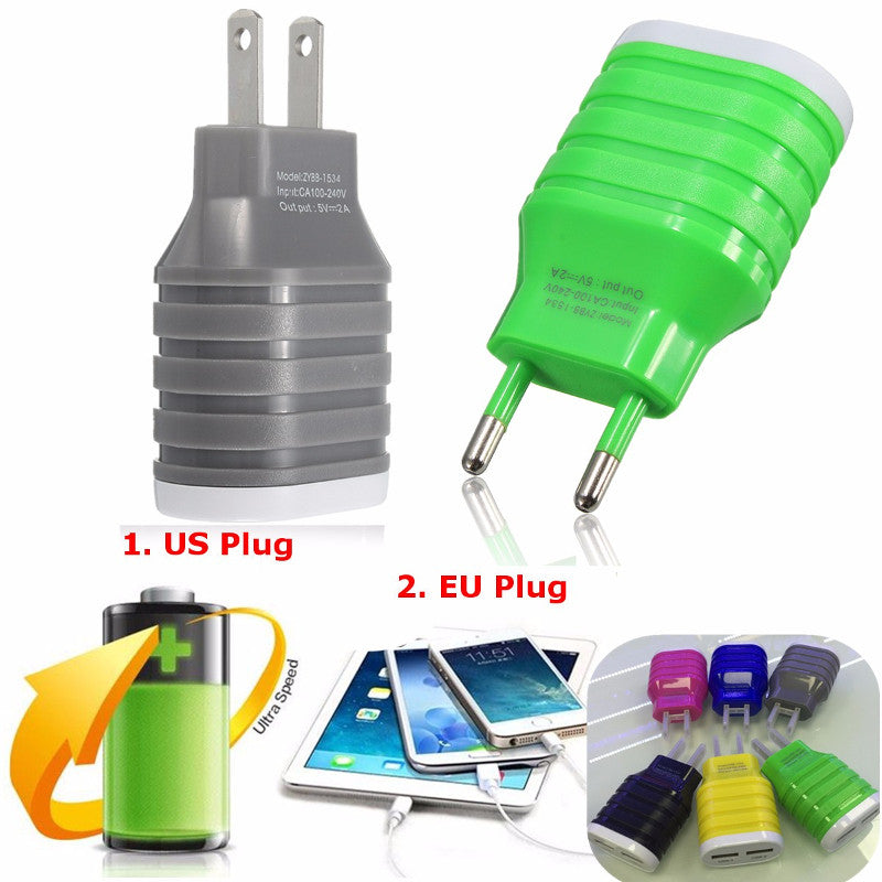 Dual USB 5V 2A 2 Pin EU-US Plug Wall Power Charger Adapter For Apple Samsung HUAWEI Motorola
