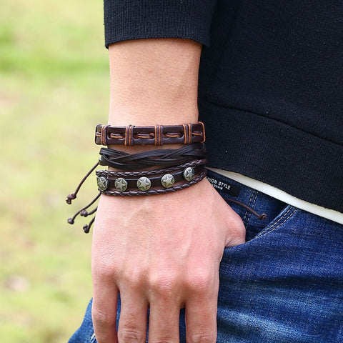Retro Woven Leather Bracelet Multi Layer Bracelet Brown Bracelet For Men