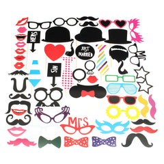 58PCS DIY Photo Booth Props Moustaches Tie Glasses Wedding Party Christmas Accessories