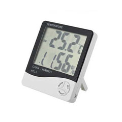 LCD Digital Temperature Humidity Meter Thermometer Alarm Clock Time