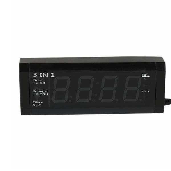 Car 3 in 1 12V Digital Auto Car Thermometer Voltmeter Voltage Meter Tester Monitor LCD Display Clock