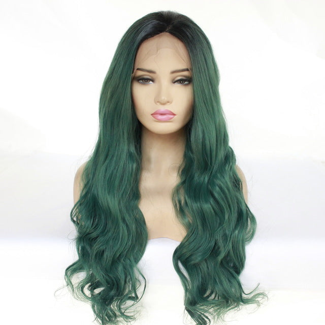 Large Color Wavy Long Wig In T-color Lace Dyeing
