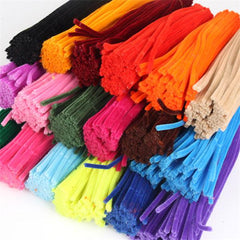 Kids Early Educational DIY Multicolor Iron Wool Plush Wire Flexible Flocking Pipe Flocking Hair Toy