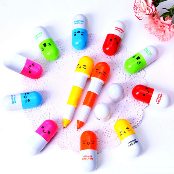 Wil je alles weten over VITAMIN Ball Pen Point Cartoon Face Telescopic Pills Pen Blue Ink? Hier lees je alles over Office & School Supplies Stationery Supplies