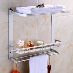 Multi-function Aluminum Silver Bath Towel Shelf Washcloth Rack Holder With 5 Hooks