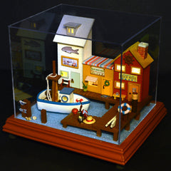 Cuteroom DIY Wooden Dollhouse Funny Town Handmade Decorations Model with LED Light and Cover