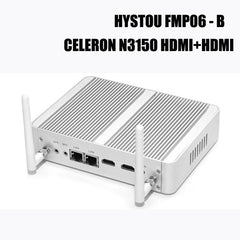 HYSTOU FMP06B Fanless Celeron N3150 Quad Core HDMI+HDMI Windows 10 Barebone HDMI Mini PC
