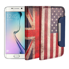 Flag Pattern Wallet Leather Stand Case For Samsung GALAXY S6 Edge