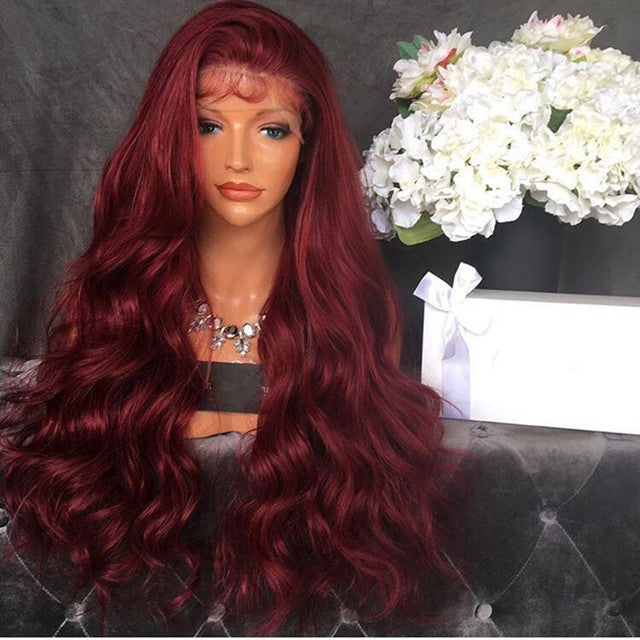 Red Long Roll Wig