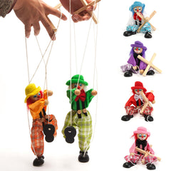 Pull String Puppet Clown Wooden Marionette Doll Vintage Child Kid Gift Christmas
