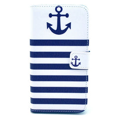 Blue White Stripe Anchor Leather Protective Case For Samsung S5 i9600