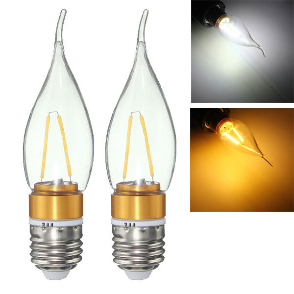 E27 E14 E12 B22 B15 2W LED Filament Edison Plastic&Aluminum Pure White Warm White Light Bulb AC220V